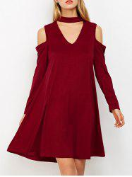 Cold Shoulder Choker Swing Dress - BURGUNDY