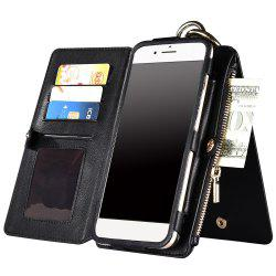 2 en 1 Case Wallet détachables Zipper Pour iPhone - Noir