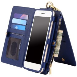 2 In 1 Detachable Zipper Wallet Case For iPhone - BLUE