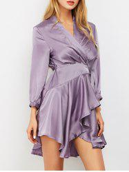 Tie Up Slik Wrap Dress