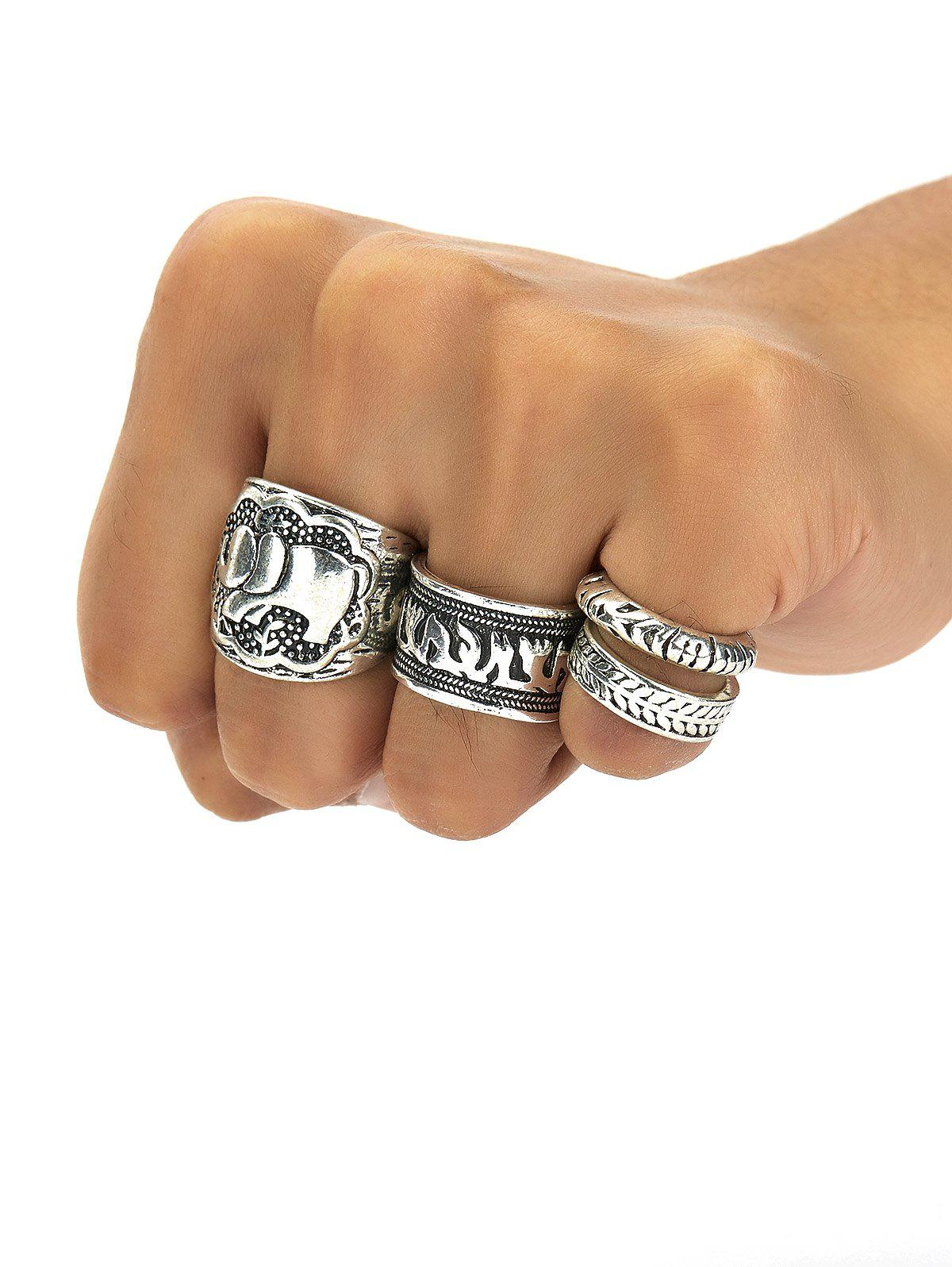 Fancy A Set of Characteristic Retro Style Carving Pattern Women's Rings