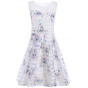 Sleeveless Semi Sheer Floral A Line Dress - White - L