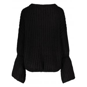 Round Neck Bell Sleeve Chunky Sweater -
