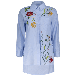 Striped Embroidered Shirt -