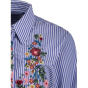 Striped Floral Embroidered Button Up Shirt -