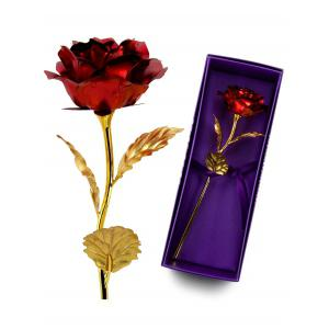 Long Stem Dipped Gold Foil Rose in Gift Box with Stand -