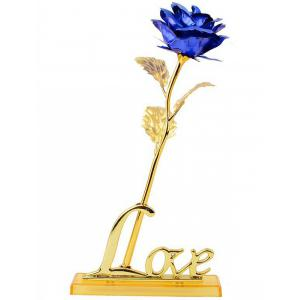Long Stem Dipped Gold Foil Rose in Gift Box with Stand - Blue
