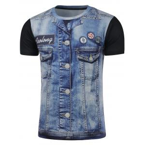 Denim Print Short Sleeve T-Shirt