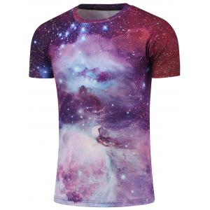 Crew Neck Short Sleeve Galaxy T-Shirt - Red - M