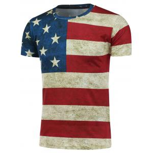 Short Sleeve Crew Neck Distressed American Flag T-Shirt - Colormix - L