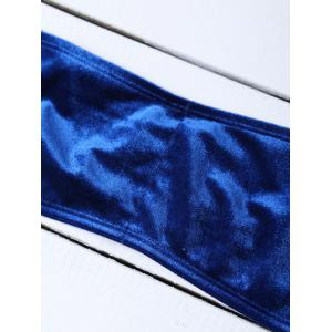 Velvet Off The Shoulder Bikini - Bleu Foncé XL