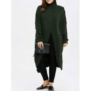 Plus Size Turtleneck High Slit Midi Long Sweater - Green - Xl