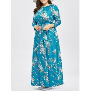 Plus Size Tie Belt Tiny Floral Maxi Dress