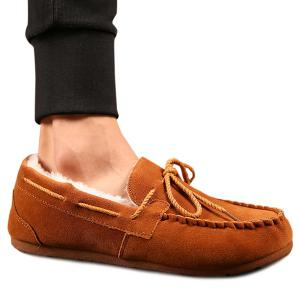 Fur Lined Suede Boat Shoes -