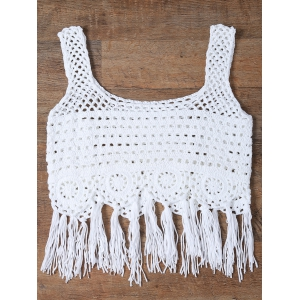 Cut Out Fringed Women's Tank Top -
