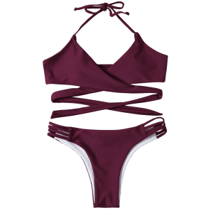 Strappy Halter Neck Wrap Bikini Set - PURPLISH RED S