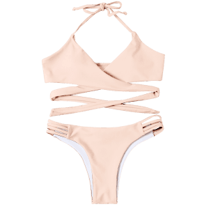 Strappy Halter Neck Wrap Bikini Set - LIGHT APRICOT PINK XL