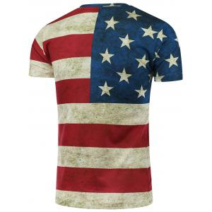 Short Sleeve Crew Neck Distressed American Flag T-Shirt - COLORMIX XL