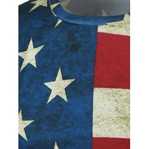 Short Sleeve Crew Neck Distressed American Flag T-Shirt - COLORMIX L