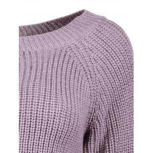 Boat Neck Loose-Fitting Ribbed Sweater -