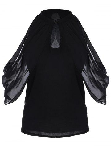 Outfit Cut Out Ruched Chiffon Blouse