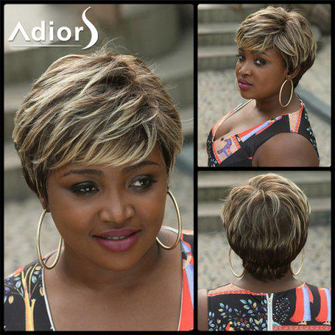 Chic Adiors Layered Highlight Fluffy Side Bang Short Straight Synthetic Wig COLORMIX