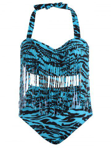 Hot Zebra Stripe Fringe Plus Size Bikini BLUE L