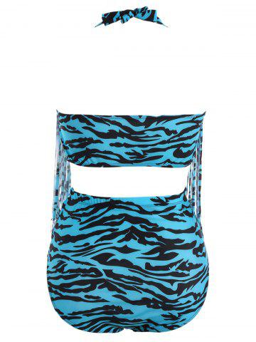 Cheap Zebra Stripe Fringe Plus Size Bikini - XL BLUE Mobile