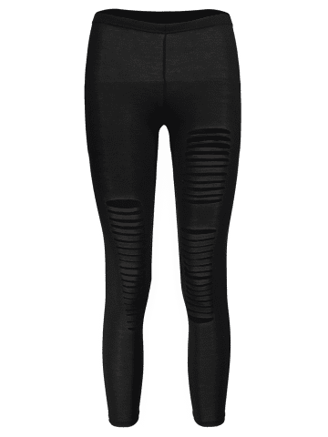 Cheap New Sexy Ripped Torn Slashed Leggings Punk Low Rise - ONE SIZE BLACK Mobile