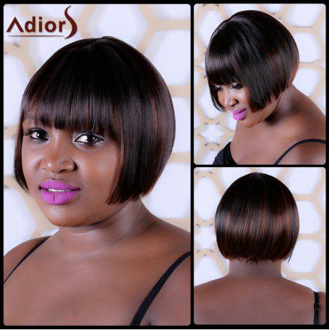 Fancy Short Synthetic Full Bang Straight Capless Wig DEEP BROWN