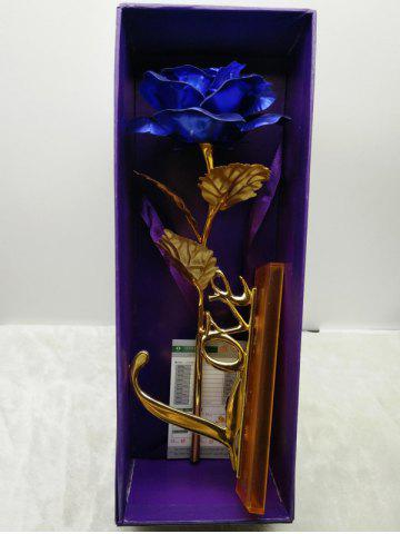 Fancy Long Stem Dipped Gold Foil Rose in Gift Box with Stand - BLUE  Mobile