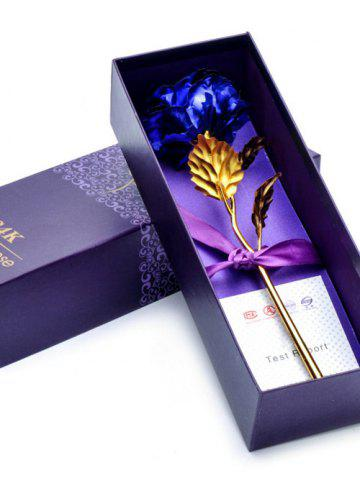 Outfit Long Stem Dipped Gold Foil Rose in Gift Box with Stand - BLUE  Mobile