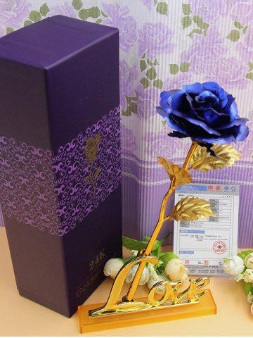 Best Long Stem Dipped Gold Foil Rose in Gift Box with Stand - BLUE  Mobile