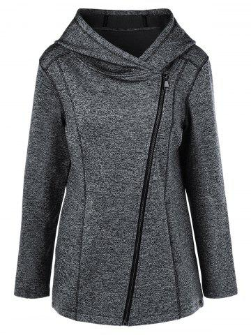 Trendy Heather Inclined Zipper Hoodie MOUSE GREY XL