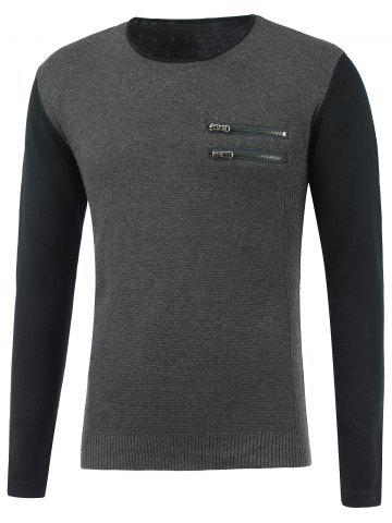 Unique Zip Embellished Two Tone Jumper - S DEEP GRAY Mobile