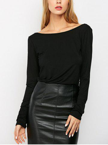 Fancy Solid Low Back T-Shirt BLACK XS