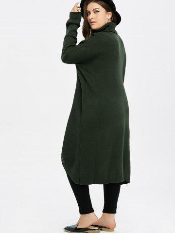 Best Plus Size Turtleneck High Slit Midi Long Sweater - GREEN XL Mobile