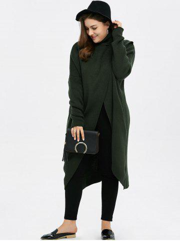 Outfits Plus Size Turtleneck High Slit Midi Long Sweater - GREEN XL Mobile