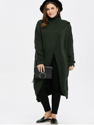 Latest Plus Size Turtleneck High Slit Midi Long Sweater - GREEN XL Mobile
