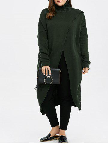 Chic Plus Size Turtleneck High Slit Midi Long Sweater - GREEN XL Mobile
