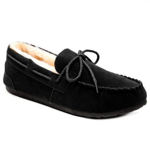 Chic Fur Lined Suede Boat Shoes
