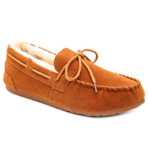 Online Fur Lined Suede Boat Shoes