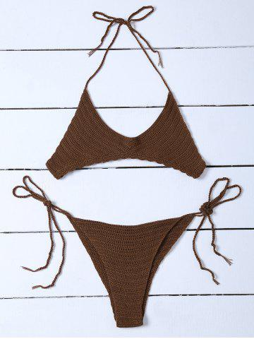 Scalloped Hem Halter Knitted Bikini - Bronze-colored - One Size