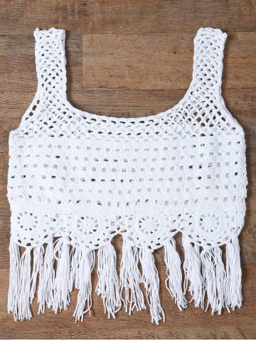 Online Cut Out Fringed Women's Tank Top WHITE ONE SIZE(FIT SIZE XS TO M)