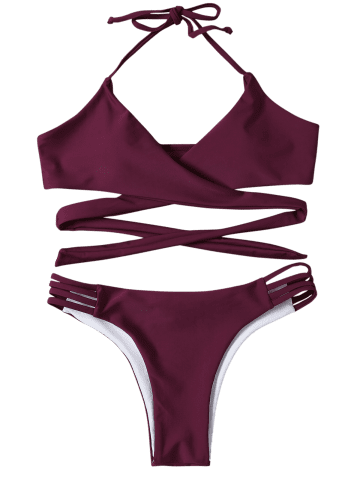 Trendy Strappy Halter Neck Wrap Bikini Set - S PURPLISH RED Mobile