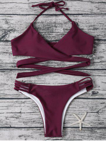 Strappy Halter Neck Wrap Bikini Set - Purplish Red - S