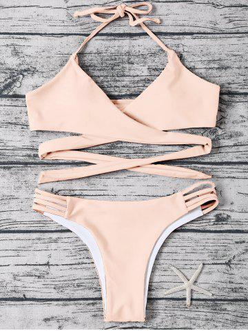 Shop Strappy Halter Neck Wrap Bikini Set LIGHT APRICOT PINK XL