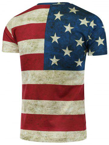Online Short Sleeve Crew Neck Distressed American Flag T-Shirt - L COLORMIX Mobile
