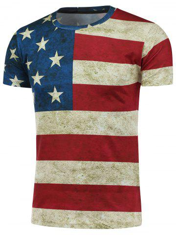 Short Sleeve Crew Neck Distressed American Flag T-Shirt - Colormix - M