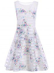 Sleeveless Semi Sheer Floral A Line Dress